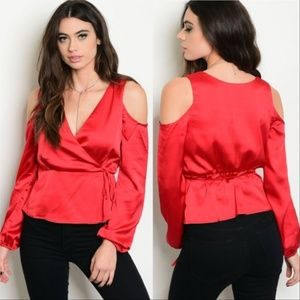CHIC DOLLZ Red Satin Top